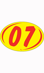 "Oval 2-Digit Year Stickers - Red/Yellow - ""07"""