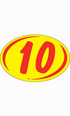 "Oval 2-Digit Year Stickers - Red/Yellow - ""10"""