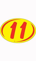 "Oval 2-Digit Year Stickers - Red/Yellow - ""11"""
