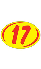 "Oval 2-Digit Year Stickers- Red/Yellow - ""17"""
