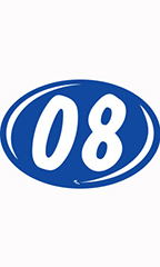 "Oval 2-Digit Year Stickers - White/Blue - ""08"""