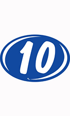 "Oval 2-Digit Year Stickers - White/Blue - ""10"""