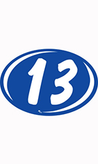 "Oval 2-Digit Year Stickers - White/Blue - ""13"""