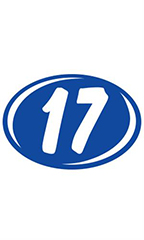 "Oval 2-Digit Year Stickers- White/Blue - ""17"""
