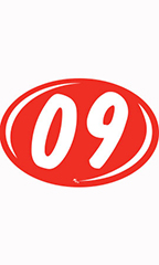 "Oval 2-Digit Year Stickers - White/Red - ""09"""
