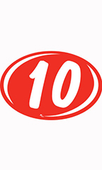 "Oval 2-Digit Year Stickers - White/Red - ""10"""