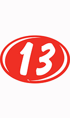 "Oval 2-Digit Year Stickers - White/Red - ""13"""