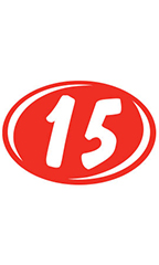 "Oval 2-Digit Year Stickers - White/Red - ""15"""