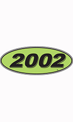 "Oval Windshield Year Stickers - Black/Neon Green - ""2002"""