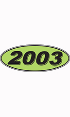 "Oval Windshield Year Stickers - Black/Neon Green - ""2003"""