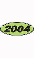 "Oval Windshield Year Stickers - Black/Neon Green - ""2004"""