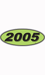 "Oval Windshield Year Stickers - Black/Neon Green - ""2005"""