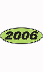 "Oval Windshield Year Stickers - Black/Neon Green - ""2006"""