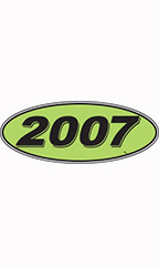 "Oval Windshield Year Stickers - Black/Neon Green - ""2007"""