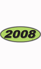 "Oval Windshield Year Stickers - Black/Neon Green - ""2008"""