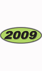 "Oval Windshield Year Stickers - Black/Neon Green - ""2009"""