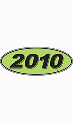 "Oval Windshield Year Stickers - Black/Neon Green - ""2010"""