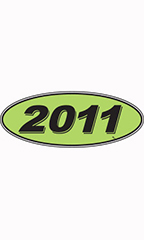 "Oval Windshield Year Stickers - Black/Neon Green - ""2011"""