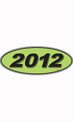 "Oval Windshield Year Stickers - Black/Neon Green - ""2012"""