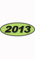 "Oval Windshield Year Stickers - Black/Neon Green - ""2013"""