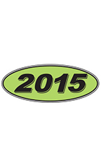 "Oval Windshield Year Stickers - Black/Neon Green - ""2015"""