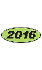 "Oval Windshield Year Stickers - Black/Neon Green - ""2016"""