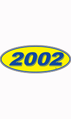 "Oval Windshield Year Stickers - Blue/Yellow - ""2002"""