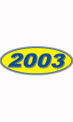 "Oval Windshield Year Stickers - Blue/Yellow - ""2003"""