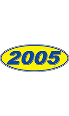 "Oval Windshield Year Stickers - Blue/Yellow - ""2005"""