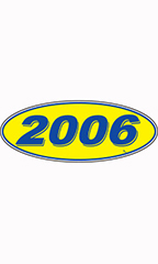 "Oval Windshield Year Stickers - Blue/Yellow - ""2006"""
