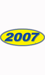 "Oval Windshield Year Stickers - Blue/Yellow - ""2007"""