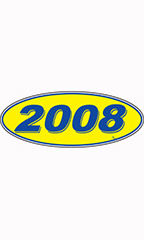 "Oval Windshield Year Stickers - Blue/Yellow - ""2008"""
