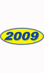"Oval Windshield Year Stickers - Blue/Yellow - ""2009"""