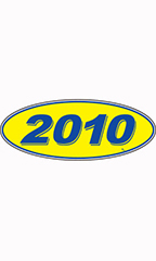 "Oval Windshield Year Stickers - Blue/Yellow - ""2010"""