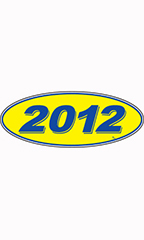 "Oval Windshield Year Stickers - Blue/Yellow - ""2012"""