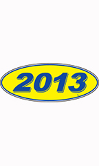 "Oval Windshield Year Stickers - Blue/Yellow - ""2013"""