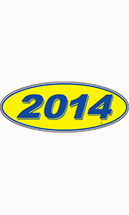 "Oval Windshield Year Stickers - Blue/Yellow - ""2014"""