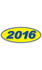 "Oval Windshield Year Stickers - Blue/Yellow - ""2016"""