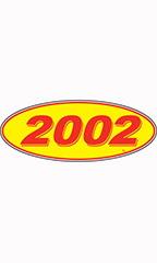 "Oval Windshield Year Stickers - Red/Yellow - ""2002"""