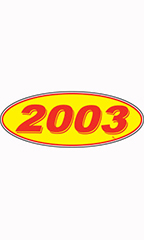 "Oval Windshield Year Stickers - Red/Yellow - ""2003"""