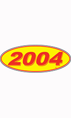 "Oval Windshield Year Stickers - Red/Yellow - ""2004"""