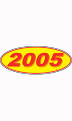 "Oval Windshield Year Sticker - Red/Yellow - ""2005"""