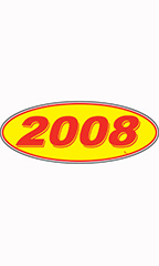 "Oval Windshield Year Stickers - Red/Yellow - ""2008"""