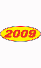 "Oval Windshield Year Stickers - Red/Yellow - ""2009"""