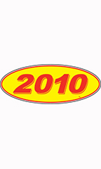 "Oval Windshield Year Stickers - Red/Yellow - ""2010"""