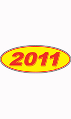 "Oval Windshield Year Stickers - Red/Yellow - ""2011"""