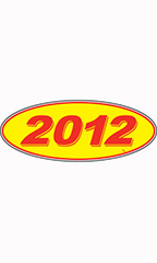 "Oval Windshield Year Stickers - Red/Yellow - ""2012"""