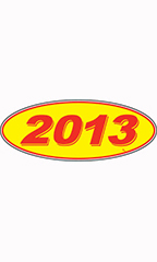 "Oval Windshield Year Stickers - Red/Yellow - ""2013"""