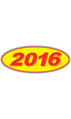 "Oval Windshield Year Stickers - Red/Yellow - ""2016"""