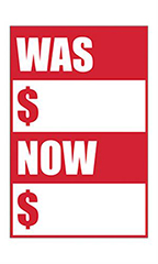 "Quick Sale Stickers - Red - ""Was Now"""